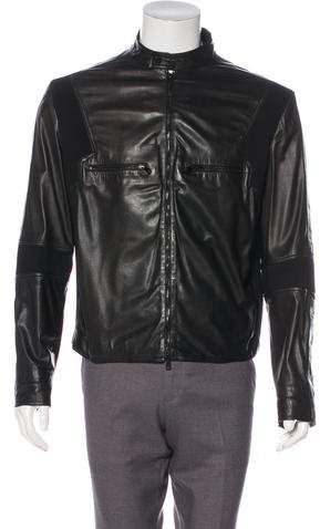 Gucci Leather Mesh-Lined Jacket