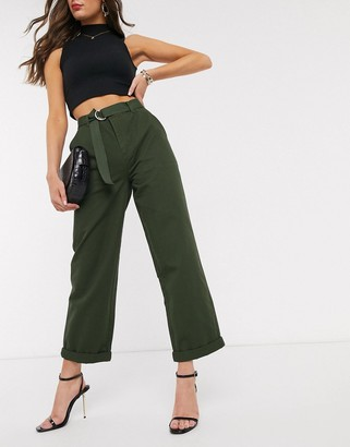 Asos DESIGN slim combat with belt in khaki