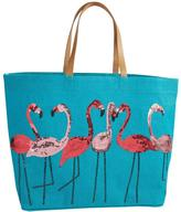 Mud Pie Beach Tote Flamingo