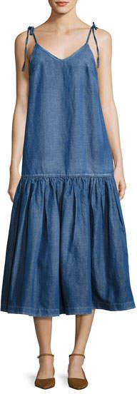 Co Tie-Shoulder Denim Midi Dress, Blue