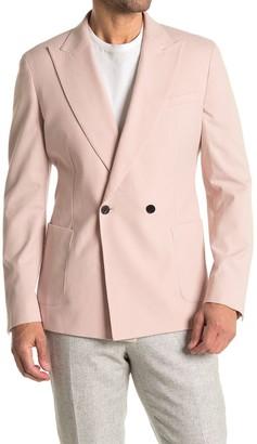 Reiss Gavi Soft Pink Moleskin Double Breasted Peak Lapel Suit Separates Blazer