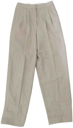 Chanel Beige Cloth Trousers for Women