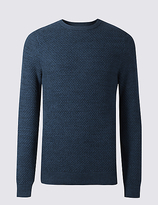 M&S Collection Pure Cotton Textured Crew Neck Jumper