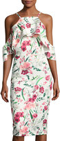 Neiman Marcus Floral-Print Cold-Shoulder Midi Dress, White Pattern