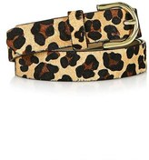 Topshop Leopard Print Genuine Calf Hair Belt