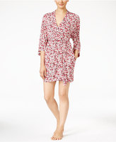 Oscar de la Renta Floral-Print Knit Robe