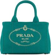Prada Fabric Logo Stitch Satchel Bag, Green