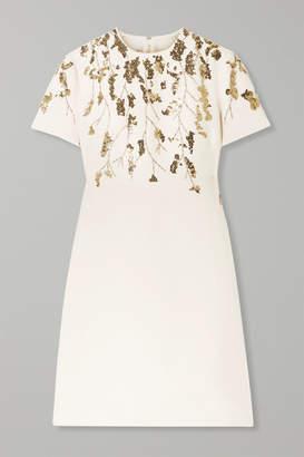 Valentino Embellished Wool And Silk-blend Mini Dress - Ivory