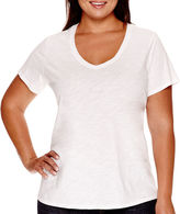 JCPenney STYLUS Stylus Short-Sleeve V-Neck Slub Tee - Plus