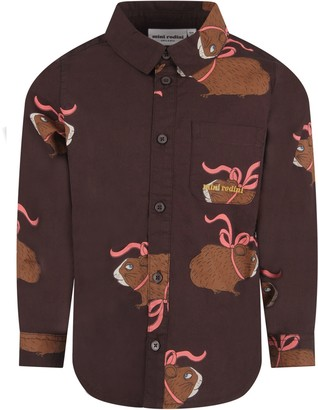 Mini Rodini Brown Shirt For Boy With Colorful Guinea Pigs