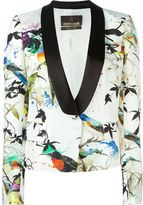Roberto Cavalli bird print tuxedo blazer - women - Silk/Polyester/Viscose - 42