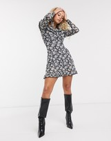 Topshop long sleeve mesh mini dress in mono