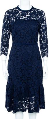 Carolina Herrera Navy Blue Lace Flounce Hem Midi Dress M