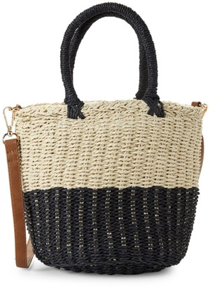 Saks Fifth Avenue Marabelle Paper String Straw Colorblock Bucket Bag