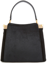 Lulu Guinness Women's Collette Small Leather and Suede Grab Bag Black