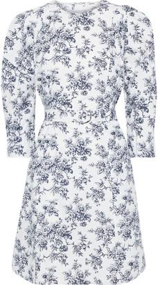 Jason Wu Belted Floral-print Cotton-poplin Mini Dress