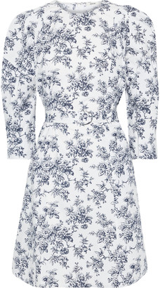 Jason Wu Collection Belted Floral-print Cotton-poplin Mini Dress