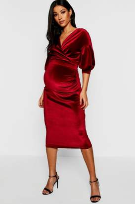boohoo Maternity Velvet Off The Shoulder Wrap Midi Dress