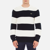 Lacoste Men's Crew Neck Stripe Sweatshirt Navy Blue/Flour