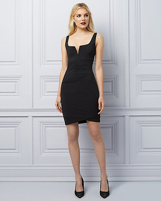 Le Château Knit Pleated Scoop Neck Dress