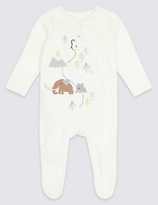 Marks and Spencer Cotton Rich Penguin Velour Sleepsuit