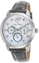 Lucien Piccard Women's 'Rivage' Quartz Stainless Steel and Leather Casual Watch, Color:Grey (Model: LP-40038-02MOP-GRYS)