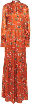 Seren London Bunny Gathered Floral-print Silk-satin Maxi Dress
