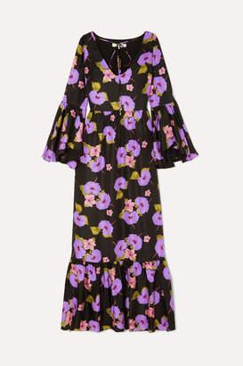 Borgo de Nor Florencia Tiered Silk-twill Dress - Black