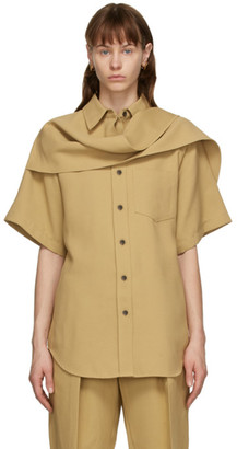 System Beige Scarf Panel Shirt