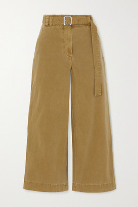 Proenza Schouler White Label Belted Washed Cotton-canvas Wide-leg Pants - Army green