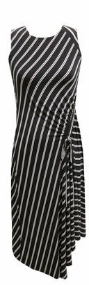 Robbie Bee Women's Sleeveless Round Neck Asymmetrical Stripe Midi Dress