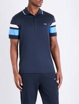 HUGO BOSS Striped slim-fit cotton-blend polo shirt