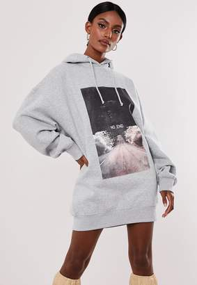 Missguided Grey No End Graphic Oversized Hooded Sweater Dress