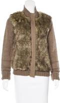 Cynthia Rowley Faux Fur-Paneled Knit Jacket
