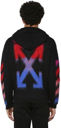Off-White Diag Brushed Mohair Blend Zip-Up Hoodie
