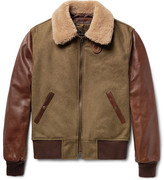 Schott Shearling-trimmed Wool-blend And Leather Jacket - Army green