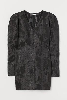 H&M Jacquard-weave Dress - Black