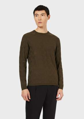 Emporio Armani Crew-Neck Sweater With Inlaid Pattern