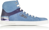 D'Acquasparta D'Acquasparta D Plus B Cobalt Blue High Top Suede Sneaker