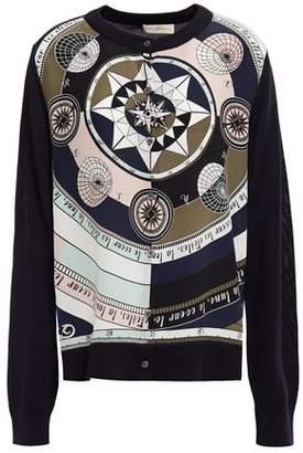 Tory Burch Printed Silk Crepe De Chine And Merino Wool Cardigan