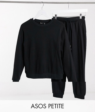 ASOS DESIGN Petite tracksuit ultimate sweat / jogger with tie in organic cotton in black