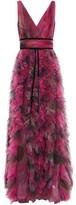 Marchesa Velvet-trimmed Ruffled Printed Tulle Gown