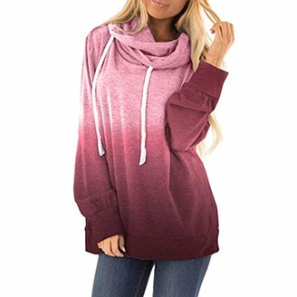 Lazzboy Women Pullover Tops Hooded Long Sleeve Cowl Neck Solid Gradient Print Casual Loose Jumper Sweatshirt Blouse Shirt (L(16)