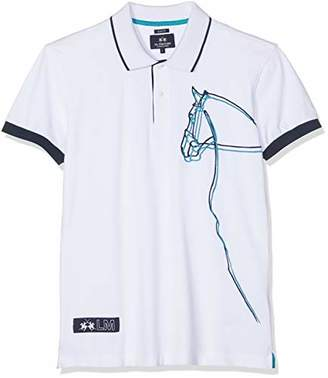 La Martina Men's Man Polo S/s Piquet Stretch Shirt, (Optic White 00001)