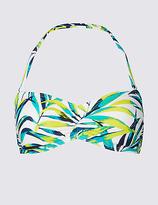 M&S Collection Palm Print Bandeau Bikini Top