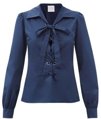 Loretta Caponi Tessa Lace-up Cotton-poplin Shirt - Navy