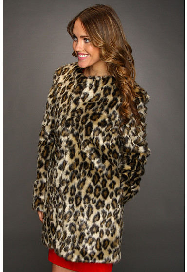 Nicole Miller Leopard Faux Fur Coat