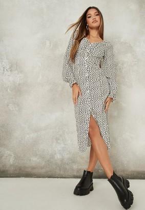 Missguided Petite White Dalmatian Print Button Milkmaid Midi Dress