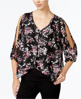 Amy Byer Juniors' Printed Cold-Shoulder Necklace Top