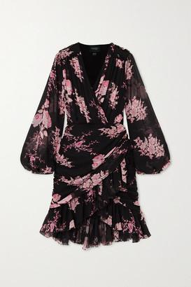 Giambattista Valli Wrap-effect Ruffled Floral-print Silk-georgette Mini Dress - Black